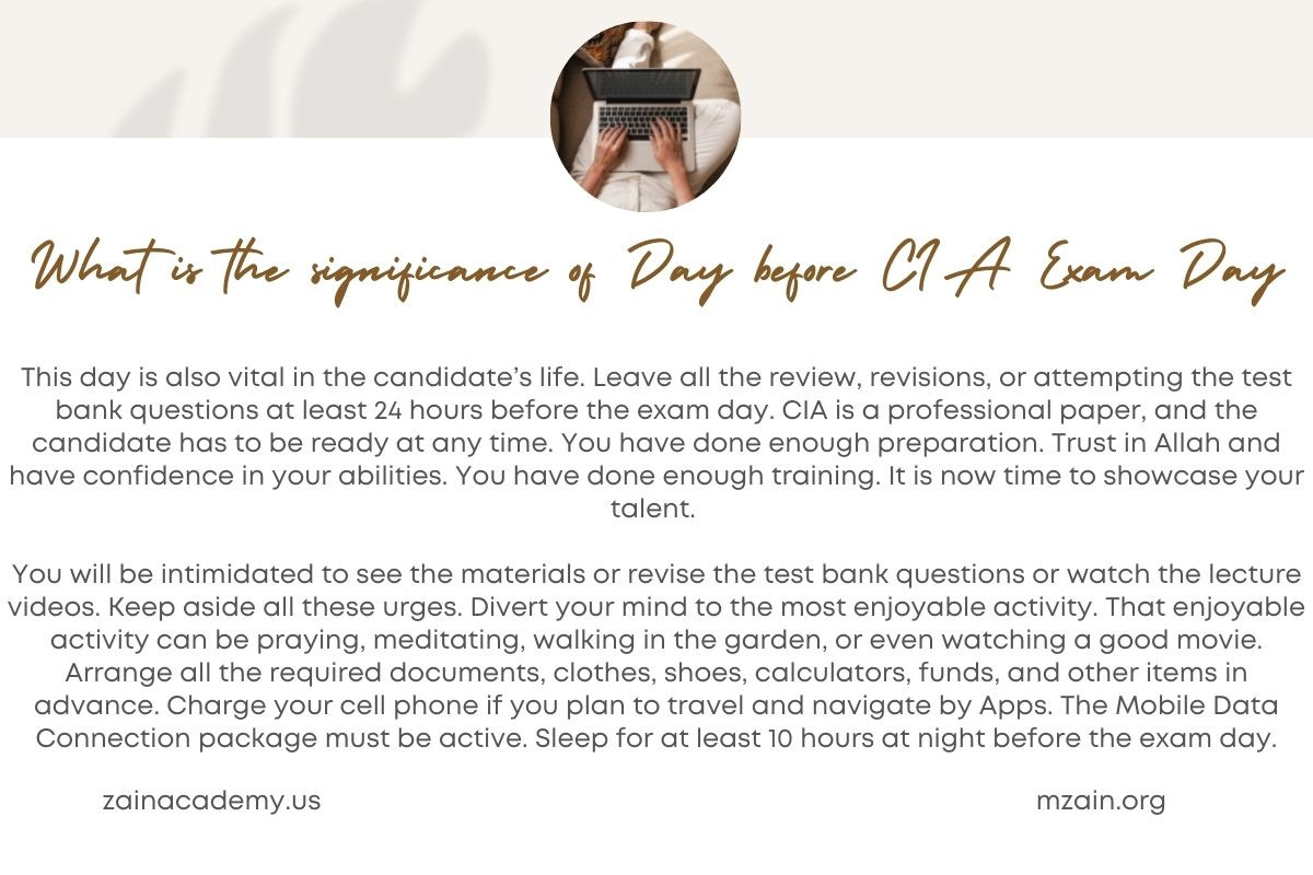 What is the significance of Day before CIA Exam Day